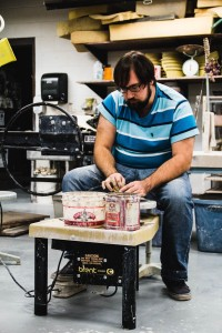 Student Brad Becker working on ceramics. (Photo by Kelsey Jacobson)
