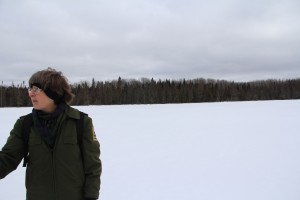Susan Olian leads the way out onto the Big Bog Lake.